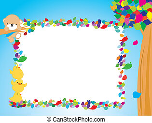 A coloured funny frame with bear, trees and birds