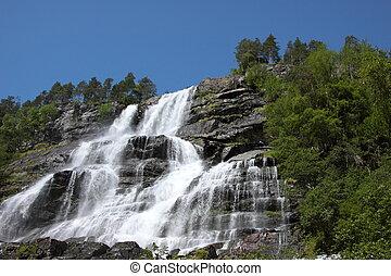 Noruega, cascada, fiordo, él