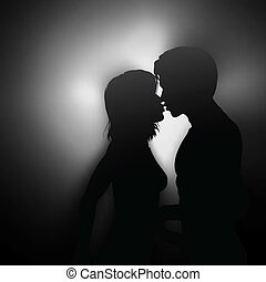 Kissing couple - Editable vector silhouette of two young...