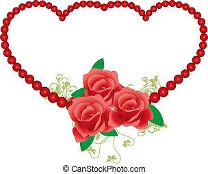 VICTORIAN FRAME-red rose around heart