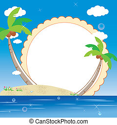 kids photo framework with sea beach background