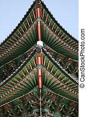 Tiled Roof of Kwanghwa Gate - Kwanghwa Gate is the main gate...
