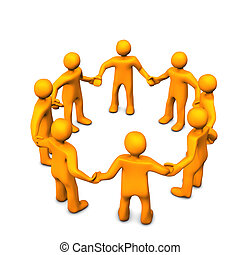 Team Business - Orange cartoons in a circle, symbolize a...