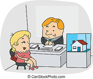 Real Estate Agent - Illustration of a Real Estate Agent at...