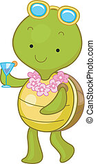 Summer Drink - Illustration of a Turtle Enjoying a Summer...