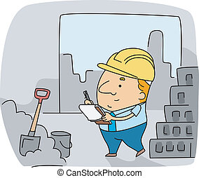 Construction Inspector - Illustration of a Construction...