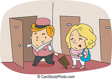 Bellboy - Illustration of a Bellboy at Work