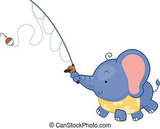 pesca, elefante