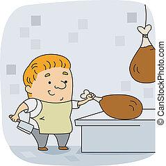 Butcher - Illustration of a Butcher at Work