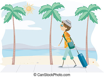 Summer Trip - Illustration of a Guy on a Trip