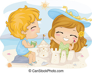 Sand Castle - Illustration of Kids Making Sand Castles