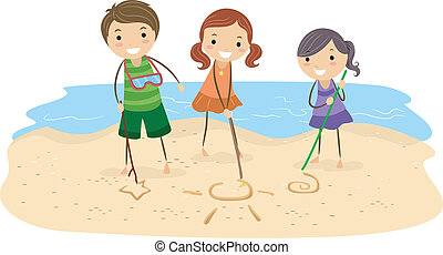Sand Drawing - Illustration of Kids Drawing on the Sand