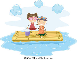Raft Fishing - Illustration of Kids Fishing from a Raft