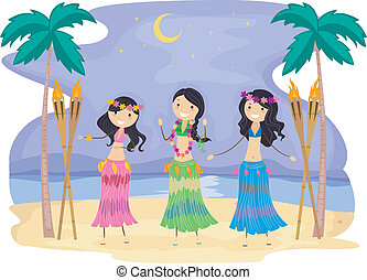 Hula - Illustration of Girls Performing a Hula Dance