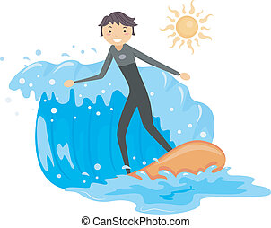 Surfing - Illustration of a Guy Riding a Wave