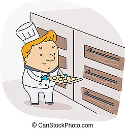 Baker - Illustration of a Baker at Work