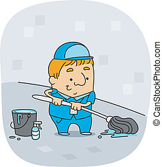 Janitor - Illustration of a Janitor at Work