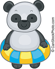 Panda with Flotation Device - Illustration of a Panda...