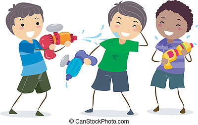 Water Gun - Illustration of Boys Playing with Water Guns