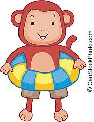 Flotation Device - Illustration of a Monkey Wearing a...