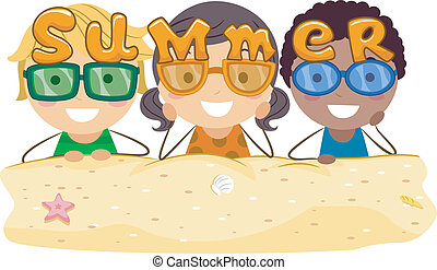 Summer Shades - Illustration of Kids Wearing Summer-themed...