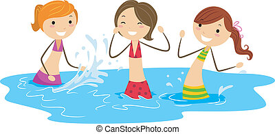 Waterfight - Illustration of Girls Playing with Water