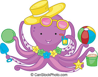 Beach Octopus - Illustration of an Octopus Playing in the...