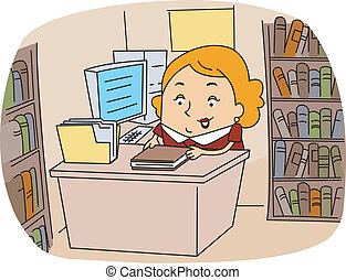 Librarian - Illustration of a Librarian at Work
