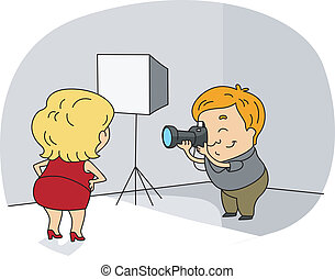 Photographer - Illustration of a Photographer at Work