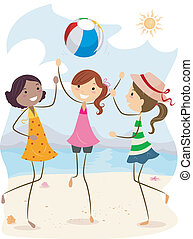 Beach Volleyball - Illustration of Girls Playing Beach...