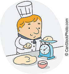 Baker - Illustration of a Baker Weighing Ingredients