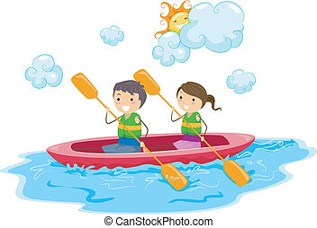 Kayak - Illustration of Kids Riding a Kayak