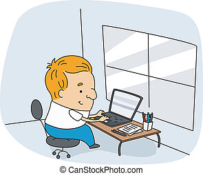 Writer - Illustration of a Writer at Work