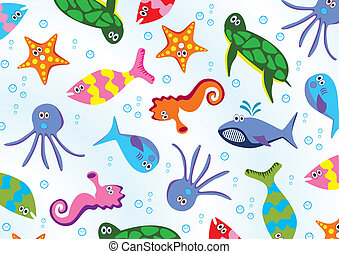 sea animals - vector sea animals background