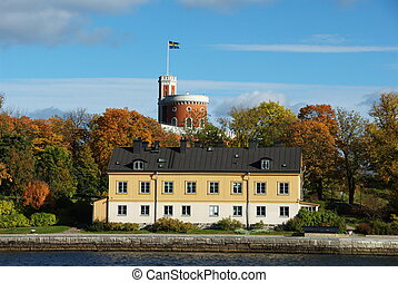 Kastellholmen from the boat - A small citadel Kastellet on...