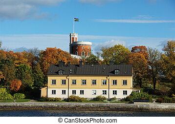 Kastellholmen from the boat - A small citadel Kastellet on...