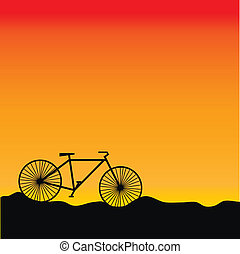 Bike in sunrise - vector - Bike on sunset background -...