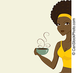 beautiful african women with coffe
