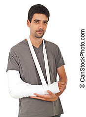 Portrait of man with broken hand - Portrait of young man...