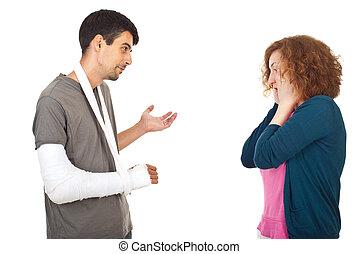 ferido, homem, explicar, preocupado, esposa