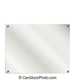 Glass Frame with bolts on white background