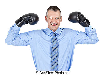 business boxing - An image of a business man boxing