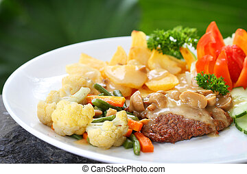 beef steak and vegetables - beef steak ala Dutch