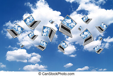 Cloudcomputing - Many Laptops are flying with clouds