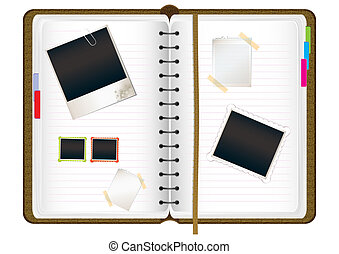 Scrapbook diary with empty photo frames and notes, vector...