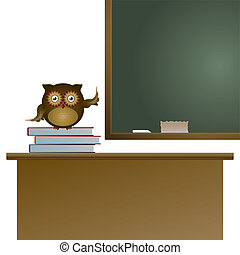 Owl in the classroom sitting on the books and pointing on...
