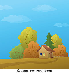 House on nature, autumn day