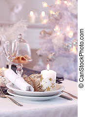 Place setting for Christmas in white