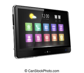 Digital tablet with touc  screen and icons