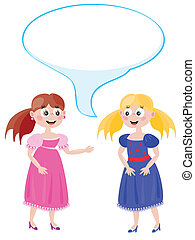Dialog of the two young girls - Two young ladies to spend a...